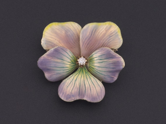 14k Gold & Diamond Pansy Brooch | Antique Pansy Br