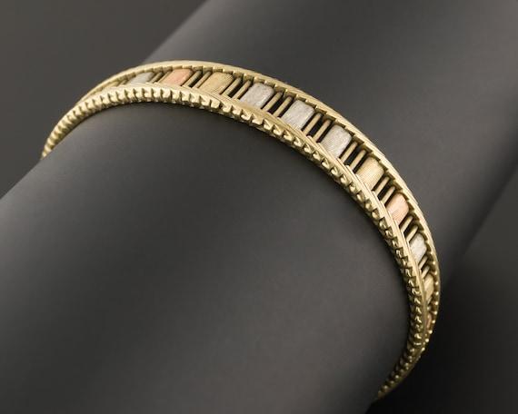 Tri Color Gold Bracelet | 14k Gold Bracelet | Vint