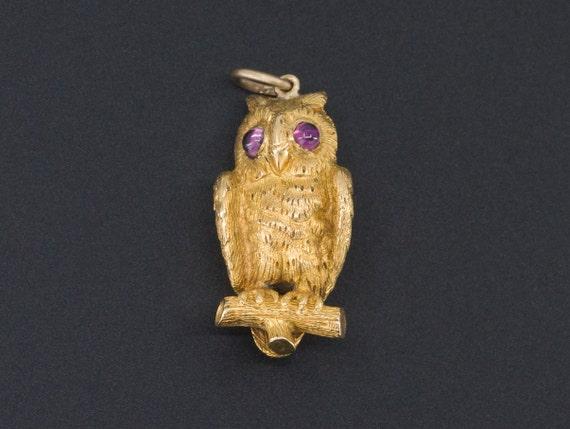 Owl Charm | Gold Owl Charm | Antique Owl Charm | 1