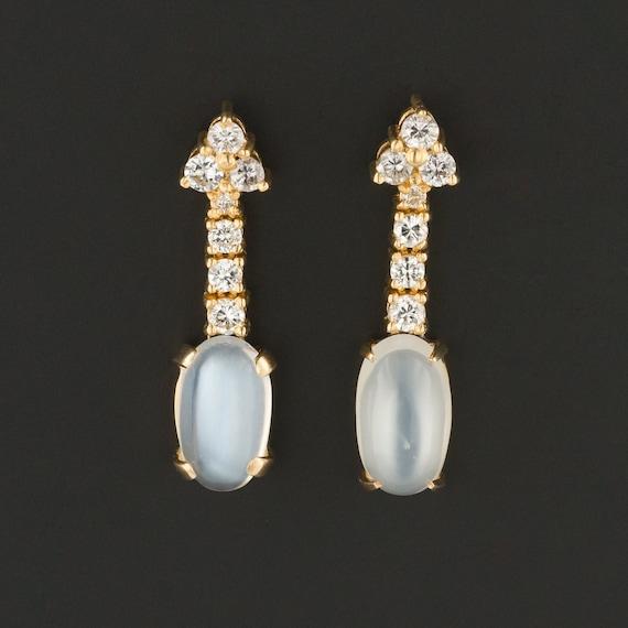 Moonstone & Diamond Earrings | 18k Gold Moonstone