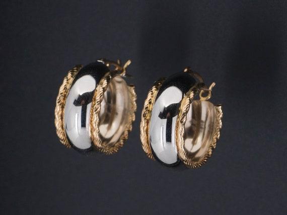Vintage Gold Two Tone Hoop Earrings | 14k Gold Hoo