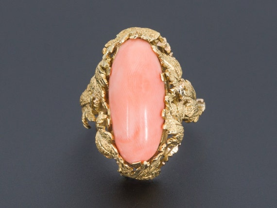 Coral Ring | Vintage Coral Ring | 18k Gold Coral R