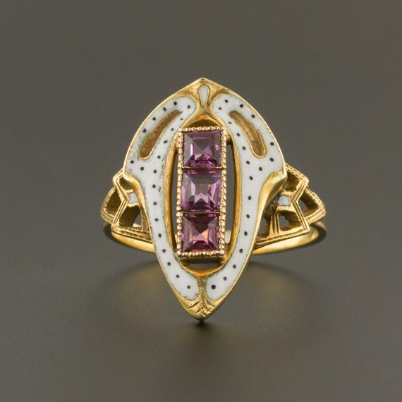 Garnet & White Enamel Ring | Antique Ring | 14k Go