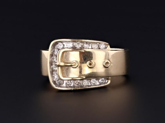 Vintage Buckle Ring | 10k Gold Buckle Ring | 10k G