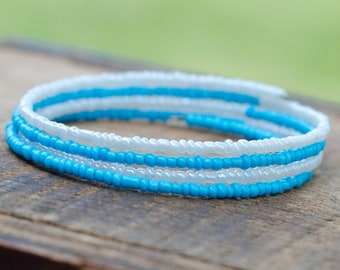 Blue and White Seed Bead Memory Wire Bracelets 4 Layers
