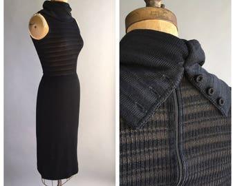 1970's Black Knit Cowl Dress