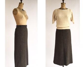 1980's Grey Wool Maxi Skirt