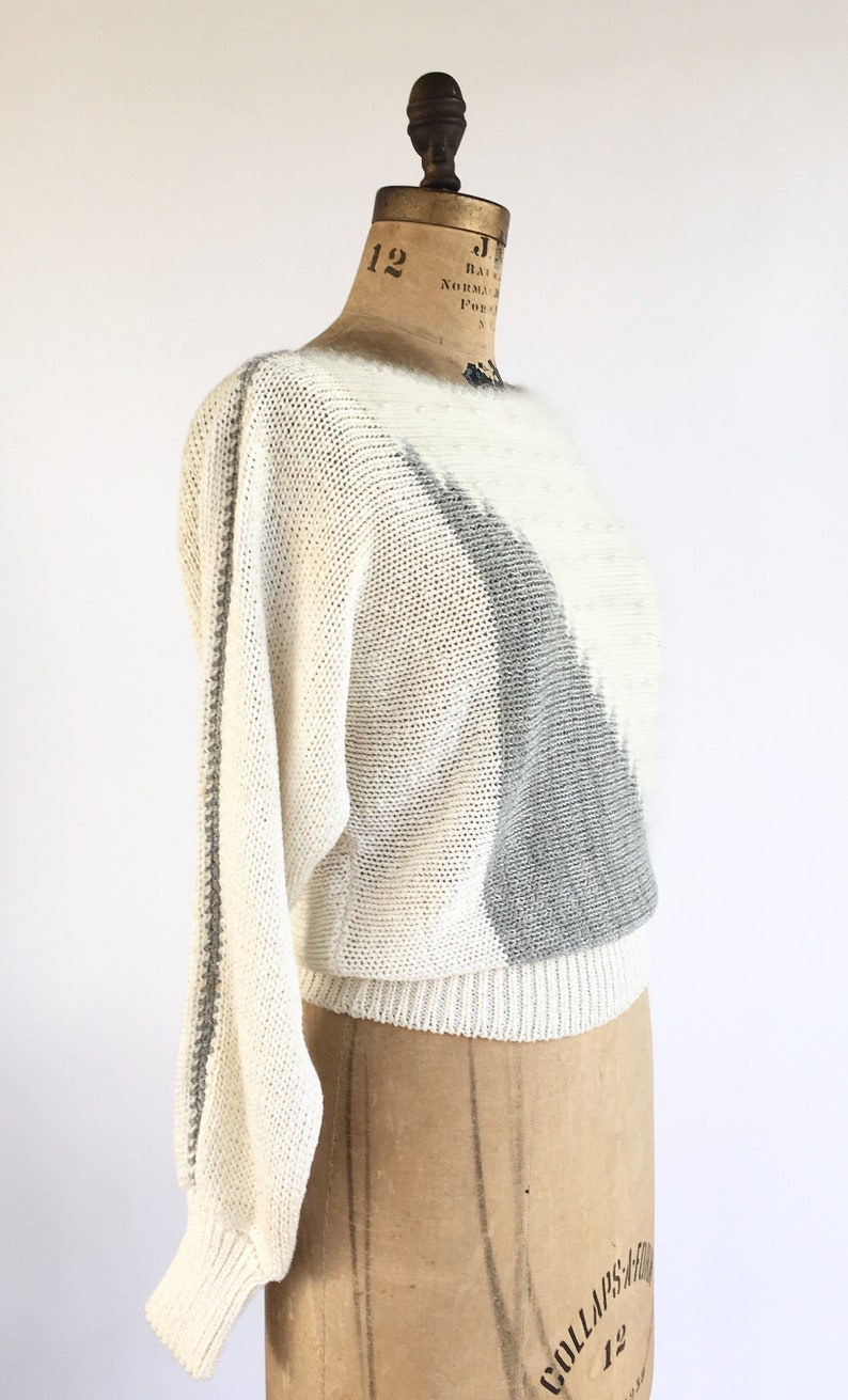 1980/'s Batwing Art Sweater With Pearl Beading