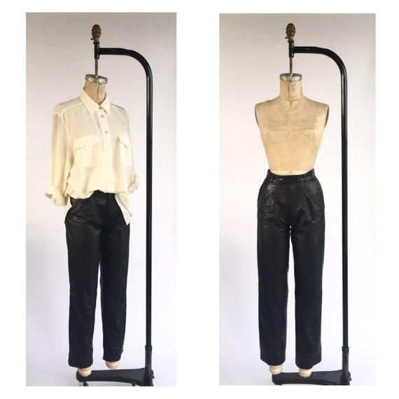 1980's Black Leather Pants