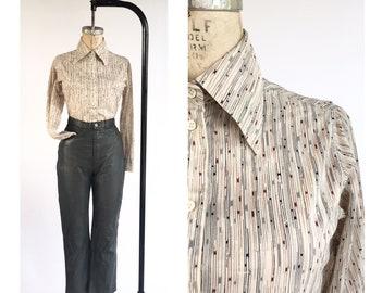 Vintage 1970's Women's Cotton Print Button Down Oxford Shirt