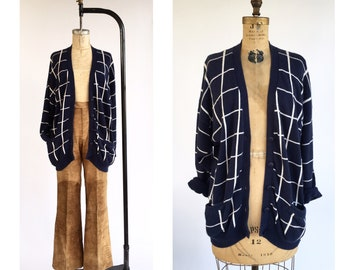 1980's Evan Picone Windowpane Plaid Cardigan