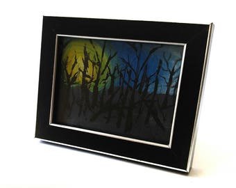 Origional Framed Painting. Forest Picture. Tree Painting. Black Frame Art. Coffee  Table Decor. Boho Home Decor. Spooky Painting