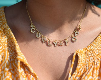 Etsy Shiori Necklace, Custom Name Necklace with Rhinestone Letters and Star Charms