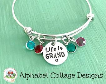 Life is Grand Adjustable Bangle Bracelet-Stainless Steel-Charm Bangle-Birthstone Bangle-Grandma Gift-Lots of Grandkids