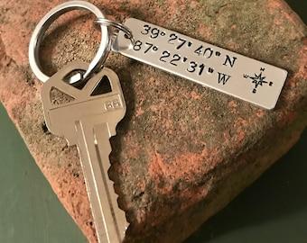 Coordinates Keychain--Longitude Latitude Keychain--Meeting Place Keychain--Special Place Coordinates Keychain--