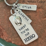 Fireman Dad Keychain--Gift for Fireman Dad--Firefighter Dad Gift--Gift for Dad--Fireman Gift--Hero Dad keychain--Kids' Names Keychains