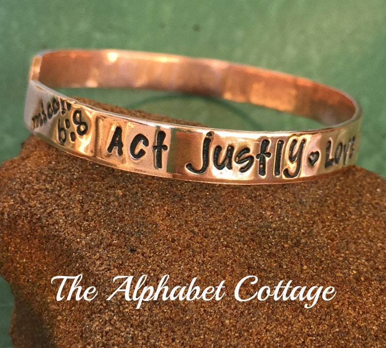 Micah 6:8 Copper Cuff/Act Justly Love Mercy Walk Humbly with image 0