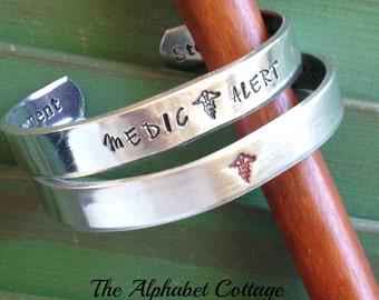 Medic Alert Cuff Bracelet--Medical Bracelet--Medic Alert Jewelry--Hand Stamped Medical Cuff--Medic Alert Symbol--Health and Wellness