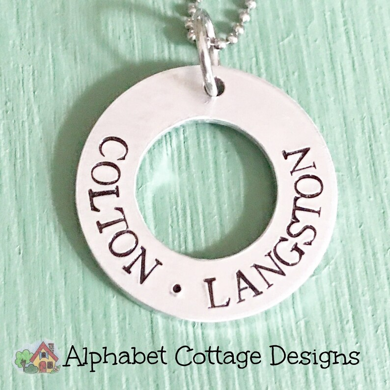 Personalized Washer Necklace Children's Names Necklace image 0