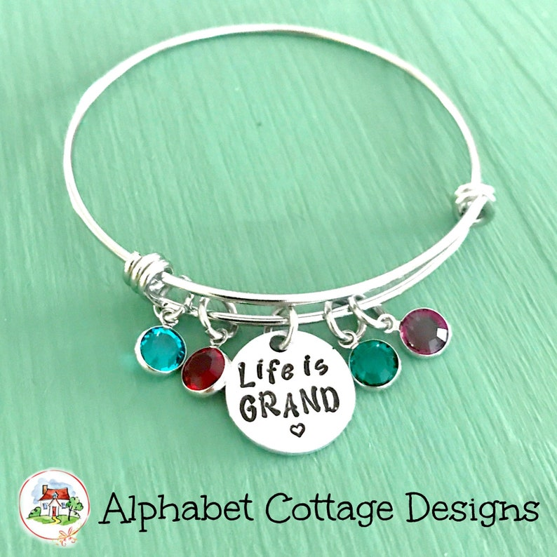 Life is Grand Adjustable Bangle Bracelet-Stainless Steel-Charm image 0