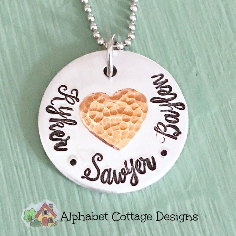 Copper Heart Mother's NecklacePersonalized with image 0