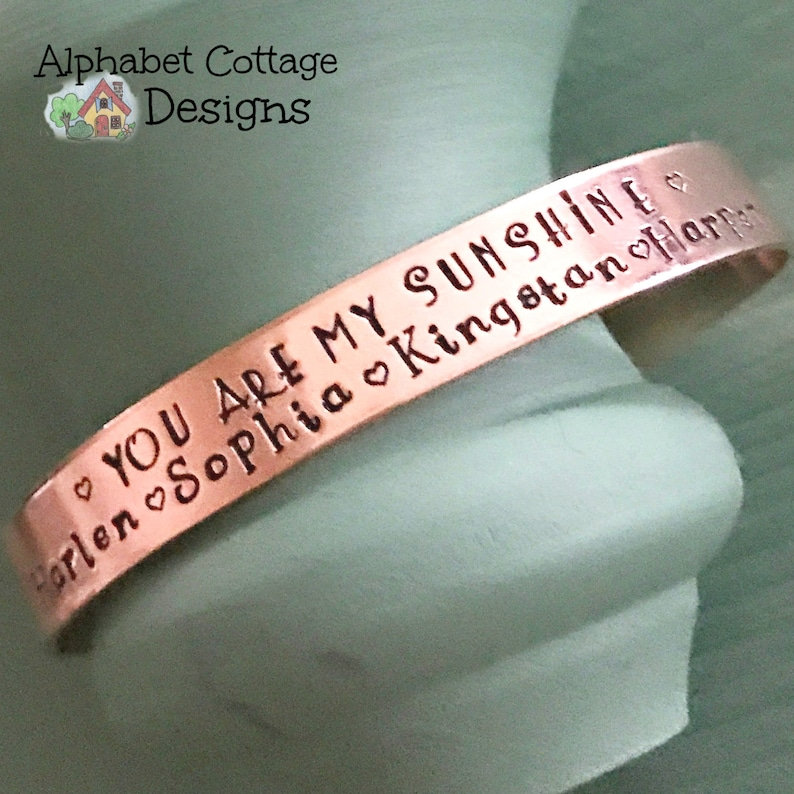 You Are My Sunshine Name Cuff BraceletMom JewelryGrandma image 0
