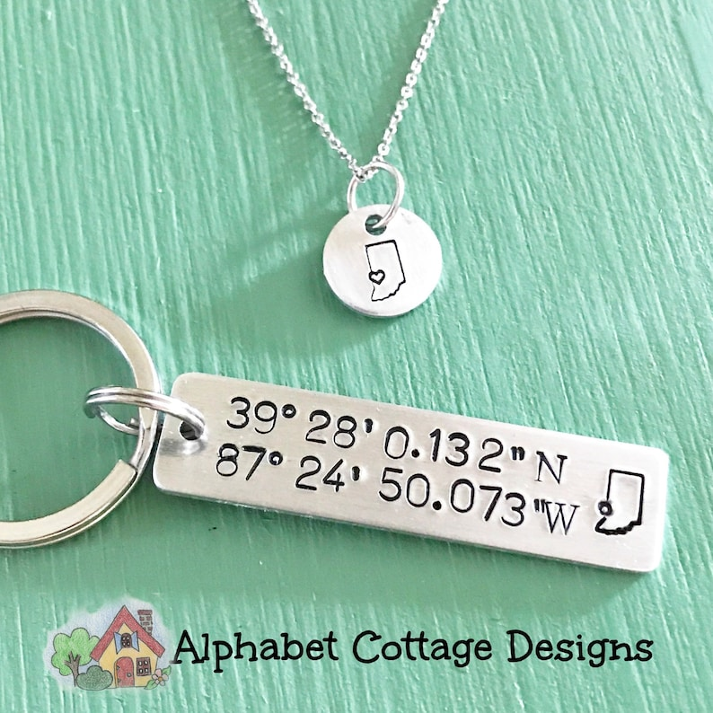 Terre Haute Indiana necklace or coordinate keychain-Terre image 0