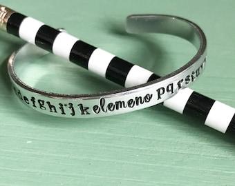 Alphabet Cuff- Teacher Cuff Bracelet- Preschool Teacher Gift- Kindergarten Teacher Gift- PreK Teacher Gift-Alphabet Song Cuff
