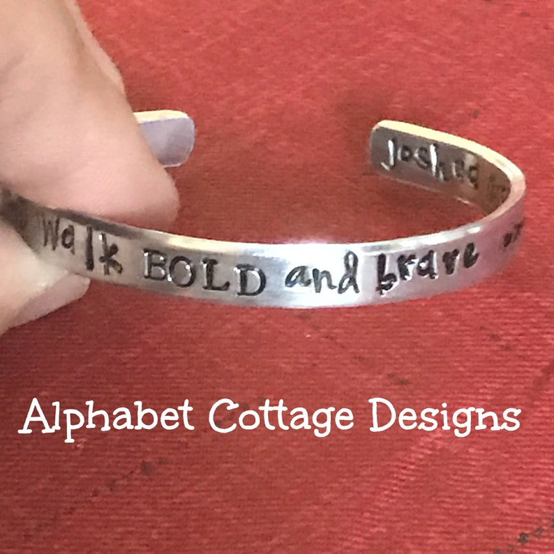 Walk BOLD and Brave Cuff Bracelet Joshua 1:9 Encouragement image 0