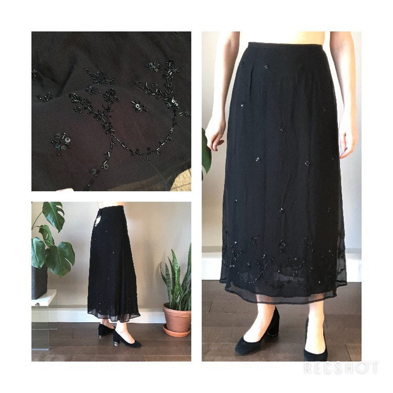 90/'s beaded maxi skirt  rayon chiffon black skirt  flowy  summer  Deadstock  New with tag  labeled as an 8 but runs small