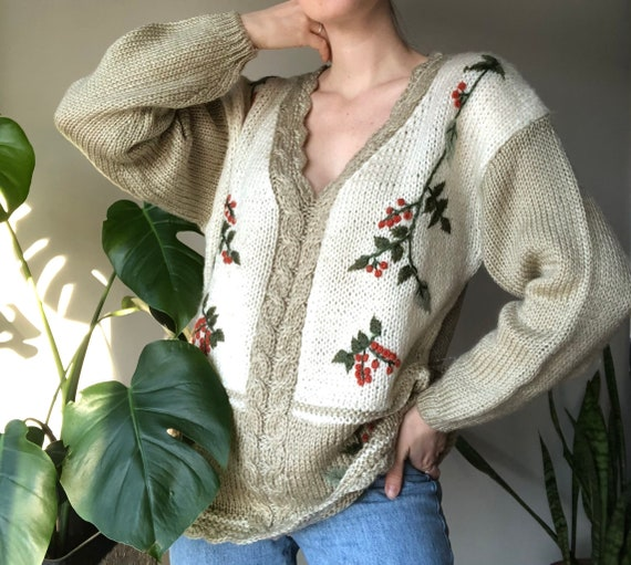 Palm Springs Hand Embroidered Vintage Green Denim Cropped Tank  Womens Size Medium