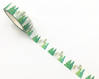 Green Forest Washi Tape, Trees Planner Washi, Greenery Planner Border, Woodland Washi Tape, Fir Tree Washi/Crafting Tape, Greenery Deco Tape