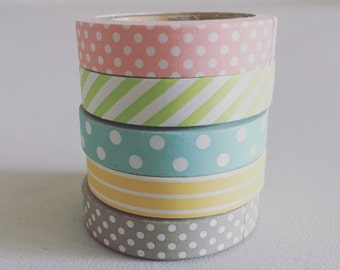 Pastel Washi Tape, Polka Dot Washi Tape, Planner Washi, Decorative Tape, Gift Wrapping Tape, Scrapbook Supply, Party Supplies (Set of 5)