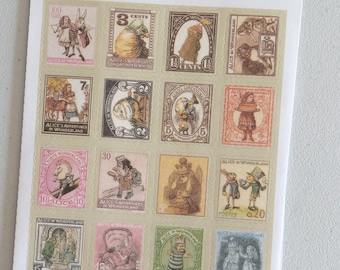 Alice In Wonderland Vintage Stamp Stickers, Postage Stamp Stickers, Scrapbooking Stickers, Decorative Stickers, Card Embellishment