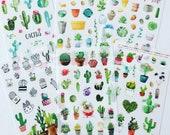 Cactus Sticker Set, Succulents Stickers, Cacti Plants Stickers, Botanical Decorative Stickers, Scrapbook Stickers, Planner Stickers