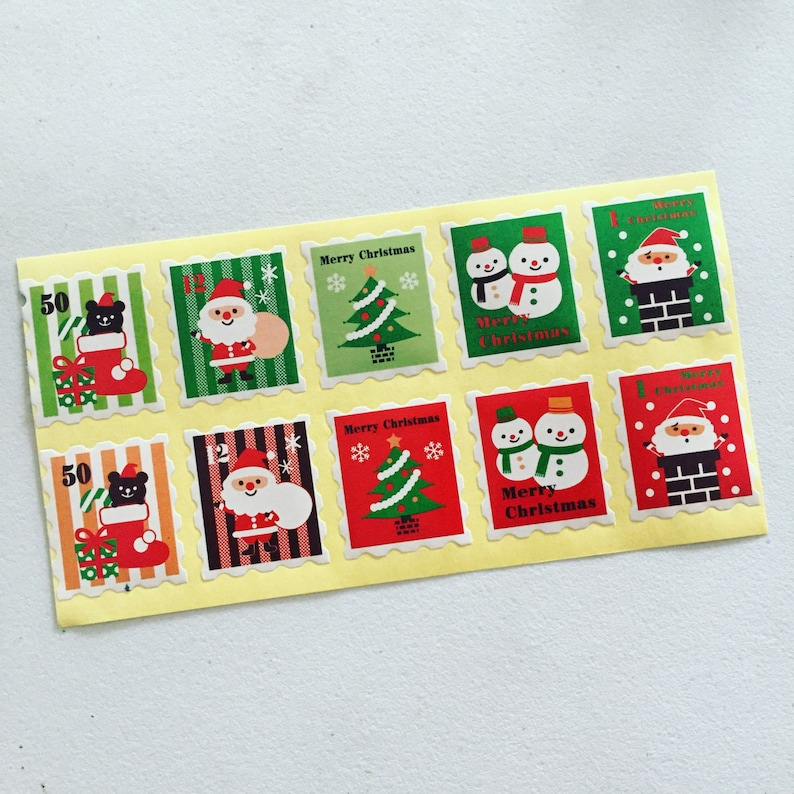 Christmas Stamp Stickers Xmas Labels Gift Wrapping Seals image 0
