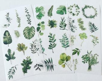 Foliage Sticker Set, Green Leaf Planner Stickers, Leafy Plant Stickers, Botanical Decorative Stickers, Greenery Scrapbook Stickers