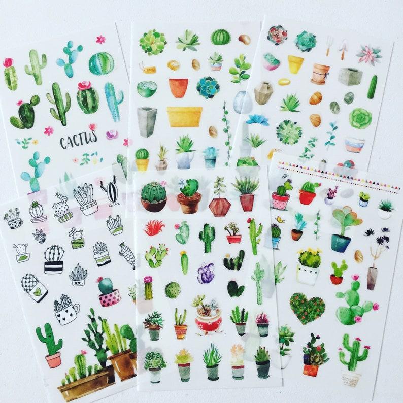 Cactus Sticker Set Succulents Stickers Cacti Plants image 0