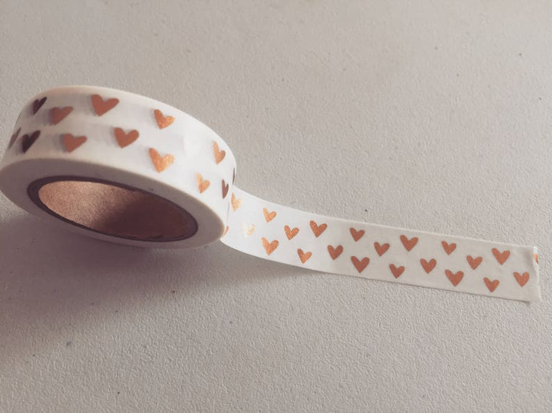 Gold Foil Hearts Washi Tape Copper Gold Planner Washi Hearts image 0