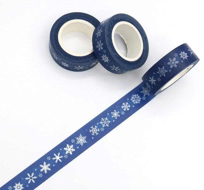 Winter Snowflakes Washi Tape Navy Christmas Washi Tape image 0