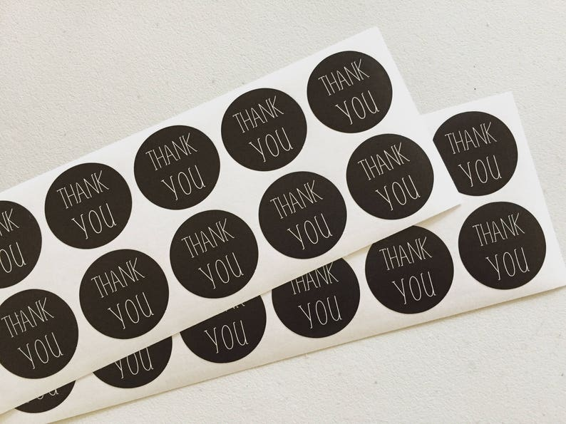 Black Thank You Paper Stickers Gift Wrapping Stickers Black image 0