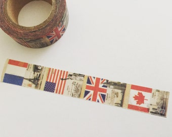 Vintage Washi Tape, Retro Planner Washi, Travel Landmarks Washi, Planner Tape, Planner Supplies, Scrapbook Supplies, Masking Tape (10M Roll)