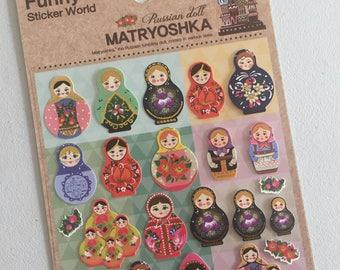 Russian Dolls Stickers, Matryoshka Mini Stickers, Russian Folk Dolls, Planner Supplies, Scrapbook Supplies