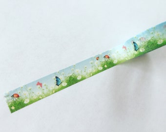 Green Field Washi Tape, Greenery Planner Border, Spring Meadow Washi Tape, Planner Supplies, Crafting Tape, Greenery Deco Tape