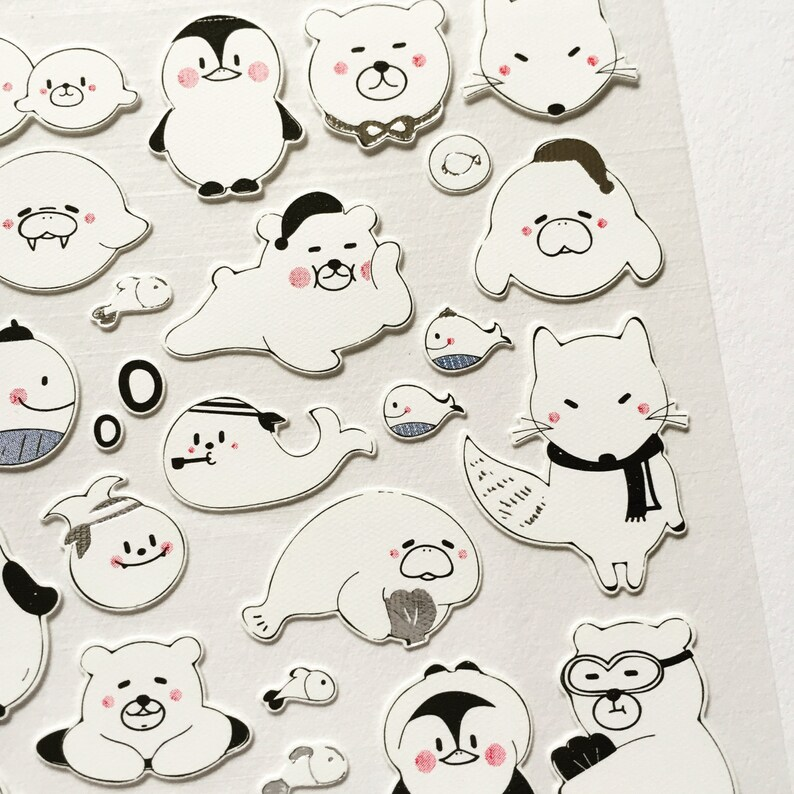 Arctic Animals Stickers Polar Bear Planner Stickers Card image 0