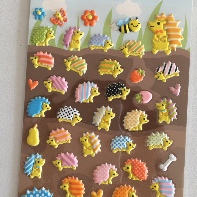 Hedgehog Puffy Stickers Animals Deco Stickers Diary image 0