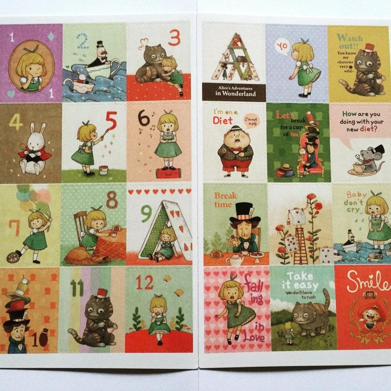 Alice In Wonderland Postage Stamp Stickers Scrapbooking image 0