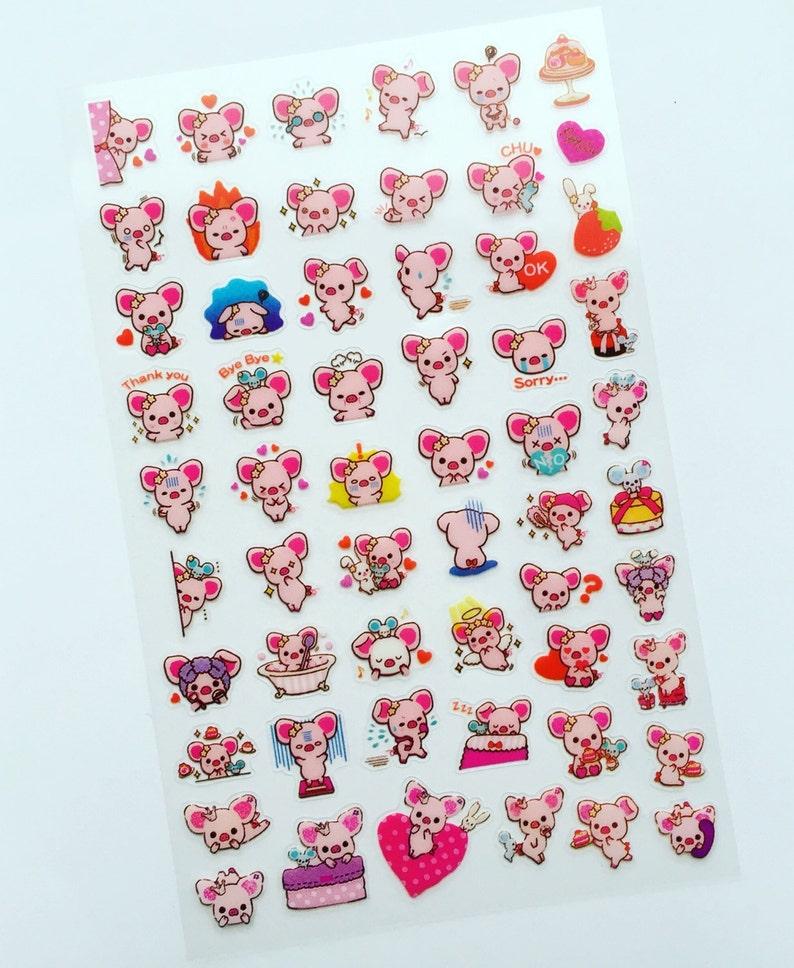 Pig Mini Stickers Kawaii Deco Stickers Piggy Diary Stickers image 0