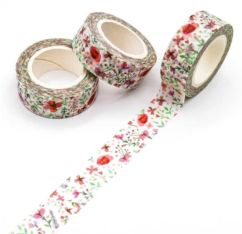 Poppy Field Washi Tape Romantic Floral Washi Shabby Chic image 0