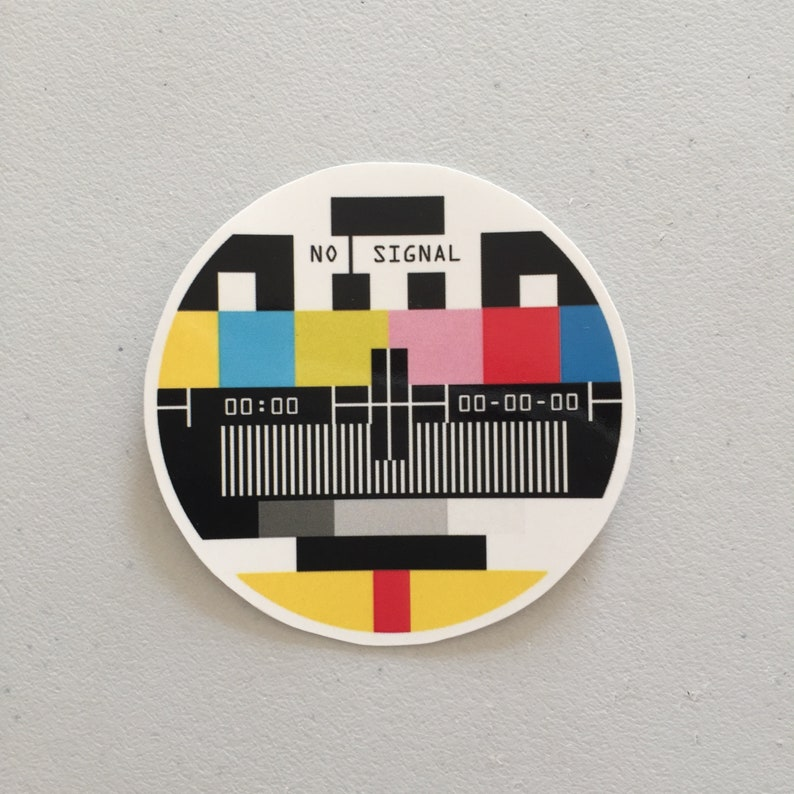 No Signal Television Laptop Sticker Old TV Signal Sticker image 0